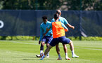 SOUTHAMPTON, ENGLAND - JULY 16: Kyle Walker-Peters(L) during pre-season training session at Staplewood Complex on July 16, 2021 in Southampton, England. (Photo by Isabelle Field/Southampton FC via Getty Images)
