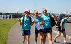 SOUTHAMPTON, ENGLAND - July 18: Lucia Kendall(L), Phoebe Williams and Kayla Rendell(R) during Southampton Women team building activity around Southampton City Center on July 18, 2021 in Southampton, England. (Photo by Isabelle Field/Southampton FC via Getty Images)