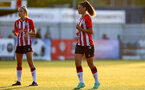 SOUTHAMPTON, ENGLAND - July 20: Laura Rafferty(R) of Southampton during per-season friendly between Saints Women and Southampton Women Development team at The Snows Stadium on July 20, 2021 in Southampton, England. (Photo by Isabelle Field/Southampton FC via Getty Images)