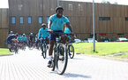 SOUTHAMPTON, ENGLAND - JULY 21: Michael Obafemi during a pre season day of cycling around The New forest, July 21, 2021 in Southampton, England. (Photo by Matt Watson/Southampton FC via Getty Images)
