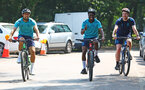SOUTHAMPTON, ENGLAND - JULY 21: L to R Jack Stephens, Nathan Tella and Physio Jack Curson during a pre season day of cycling around The New forest, July 21, 2021 in Southampton, England. (Photo by Matt Watson/Southampton FC via Getty Images)
