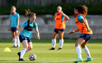 SOUTHAMPTON, ENGLAND - July 21: Ella Pusey(L) and Laura Rafferty(R) during Southampton Women's pre-season training at Staplewood Training Ground on July 21, 2021 in Southampton, England. (Photo by Isabelle Field/Southampton FC via Getty Images)