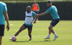 SOUTHAMPTON, ENGLAND - JULY 22: Nathan Redmond(L) and Shane Long  during a Southampton FC pre season training session at The Staplewood Campus on July 22, 2021 in Southampton, England. Photo by Matt Watson/Southampton FC via Getty Images