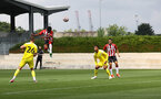 SOUTHAMPTON, ENGLAND - JULY 24: Nathan Tella of Southampton heads at goal during a pre-season friendly match between Southampton FC and Fulham at The Staplewood Campus on July 24, 2021 in Southampton, England. Photo by Matt Watson/Southampton FC via Getty Images