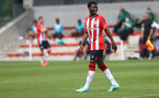 SOUTHAMPTON, ENGLAND - JULY 24: Nathan Tella of during a pre-season friendly match between Southampton FC and Fulham at The Staplewood Campus on July 24, 2021 in Southampton, England. Photo by Matt Watson/Southampton FC via Getty Images