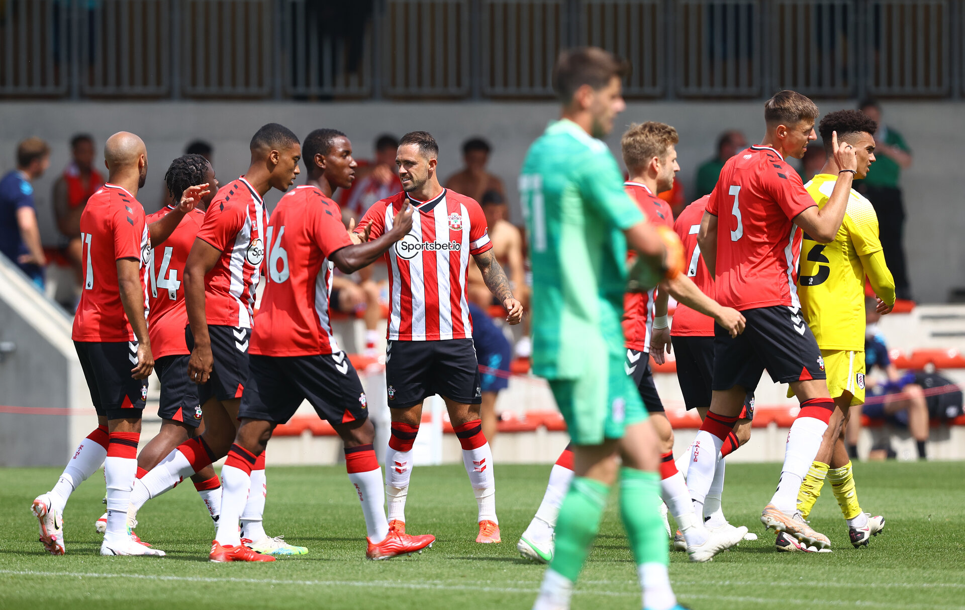 SOUTHAMPTON, ENGLAND - JULY 24: Southampton players gather after Shane Long opens the scoring during a pre-season friendly match between Southampton FC and Fulham at The Staplewood Campus on July 24, 2021 in Southampton, England. Photo by Matt Watson/Southampton FC via Getty Images