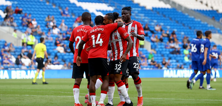 CARDIFF, WALES - JULY 27: Southampton players celebrate during the Pre-Season Friendly match between Cardiff City and Southampton at Cardiff City Stadium on July 27, 2021 in Cardiff, Wales. Photo by Matt Watson/Southampton FC via Getty Images