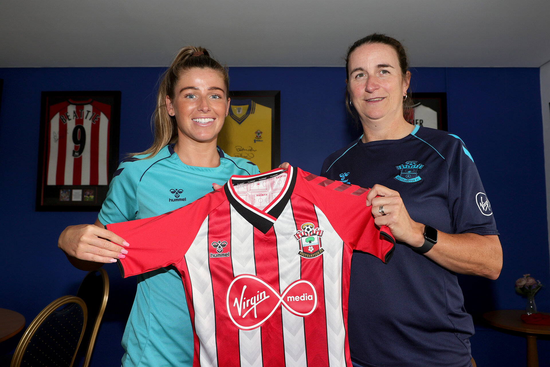 SOUTHAMPTON, ENGLAND - JULY 29: Ciara Sherwood(L) and Marieanne Spacey-Cale(R) signing a new contract with Southampton Women's team photographed at Snows Stadium on July 29, 2021 in Southampton, England. (Photo by Isabelle Field/Southampton FC via Getty Images)