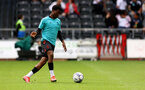 SWANSEA, WALES - JULY 31: Nathan Tella of Southampton warms up during the pre-season friendly match between Swansea City and Southampton FC, at The Liberty Stadium on July 31, 2021 in Swansea, Wales. (Photo by Matt Watson/Southampton FC via Getty Images)