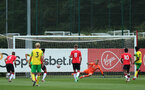 Norwich score their first from the spot. Southampton B v Norwich City U23, Premier League 2, Division 2, Staplewood Campus, Marchwood, Southampton Picture: Chris Moorhouse  Sunday 15th August 2021
