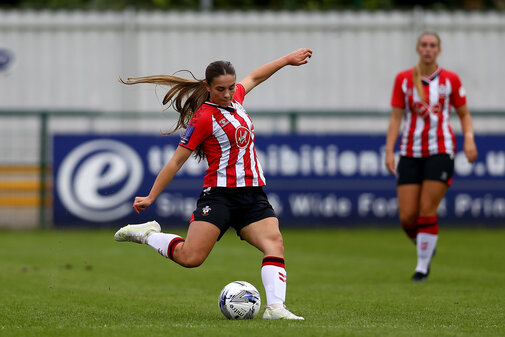 SOUTHAMPTON, ENGLAND - AUGUST 15: Georgie Freeland of Southampton during the FA Women's National League Southern Premier match between Southampton Women's and MK Dons Ladies at Snow's Stadium on August 15, 2021 in Southampton, England. (Photo by Isabelle Field/Southampton FC via Getty Images)