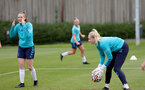 SOUTHAMPTON, ENGLAND - AUGUST 17: Ella Pusey(L) and Kayla Rendell(R) during Southampton Women's training session at  Staplewood Training Ground on August 17, 2021 in Southampton, England. (Photo by Isabelle Field/Southampton FC via Getty Images)