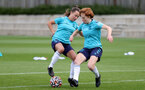 SOUTHAMPTON, ENGLAND - AUGUST 17: Sophia Pharoah(L) and Molly Mott(R) during Southampton Women's training session at  Staplewood Training Ground on August 17, 2021 in Southampton, England. (Photo by Isabelle Field/Southampton FC via Getty Images)