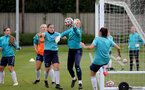 SOUTHAMPTON, ENGLAND - AUGUST 17: Shannon Sievwright(L) and Kayla Rendell(R) during Southampton Women's training session at  Staplewood Training Ground on August 17, 2021 in Southampton, England. (Photo by Isabelle Field/Southampton FC via Getty Images)