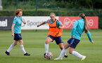 SOUTHAMPTON, ENGLAND - AUGUST 17: Molly Mott(L), Shelly Provan and Georgie Freeland(R) during Southampton Women's training session at  Staplewood Training Ground on August 17, 2021 in Southampton, England. (Photo by Isabelle Field/Southampton FC via Getty Images)