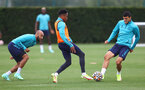 SOUTHAMPTON, ENGLAND - AUGUST 20: L to R Nathan Redmond, Kyle Walker-Peters and Mohamed Elyounoussi during a Southampton FC training session at the Staplewood Campus on August 20, 2021 in Southampton, England. (Photo by Matt Watson/Southampton FC via Getty Images)