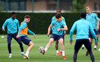 SOUTHAMPTON, ENGLAND - AUGUST 20: Tino Livramento(centre) during a Southampton FC training session at the Staplewood Campus on August 20, 2021 in Southampton, England. (Photo by Matt Watson/Southampton FC via Getty Images)