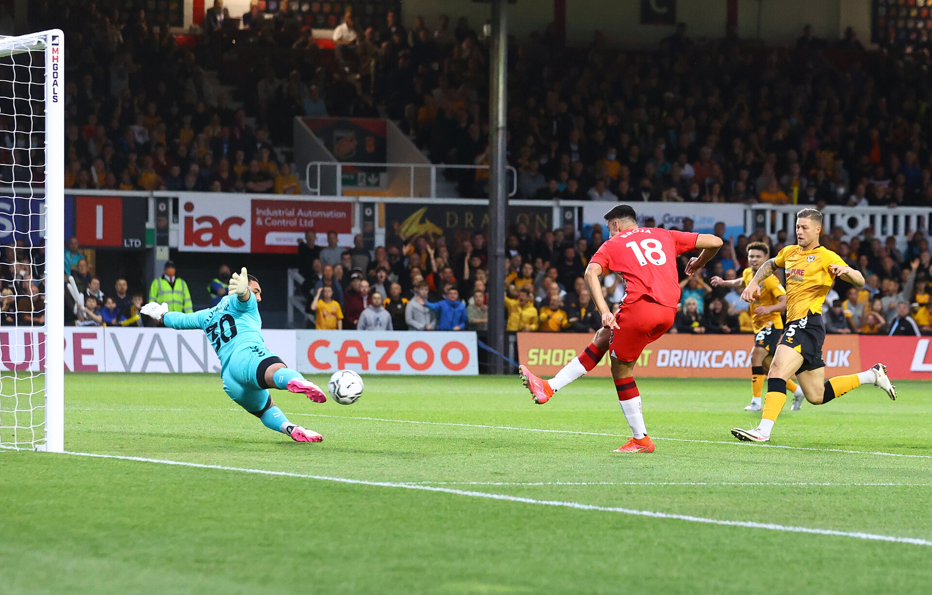 NEWPORT, WALES - AUGUST 25: Armando Broja of Southampton scores the first goal of the game during the Carabao Cup second round match between Newport County and Southampton FC, at Rodney Parade on August 25, 2021 in Newport, Wales. (Photo by Matt Watson/Southampton FC via Getty Images)