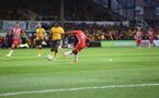 NEWPORT, WALES - AUGUST 25: Nathan Tella of Southampton strikes to sore the second goal of the game during the Carabao Cup second round match between Newport County and Southampton FC, at Rodney Parade on August 25, 2021 in Newport, Wales. (Photo by Matt Watson/Southampton FC via Getty Images)