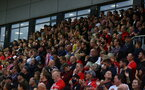 NEWPORT, WALES - AUGUST 25: Fans of Southampton during the Carabao Cup second round match between Newport County and Southampton FC, at Rodney Parade on August 25, 2021 in Newport, Wales. (Photo by Matt Watson/Southampton FC via Getty Images)