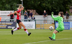 SOUTHAMPTON, ENGLAND - AUGUST 29: Phoebe Williams(L) of Southampton during Women's National League Southern Premier match between Southampton Women and Gillingham at Snows Stadium on August 29, 2021 in Southampton, England. (Photo by Isabelle Field/Southampton FC via Getty Images)