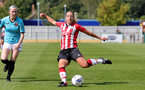 SOUTHAMPTON, ENGLAND - AUGUST 29: Shelly Provan(R) of Southampton during Women's National League Southern Premier match between Southampton Women and Gillingham at Snows Stadium on August 29, 2021 in Southampton, England. (Photo by Isabelle Field/Southampton FC via Getty Images)