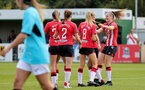 SOUTHAMPTON, ENGLAND - AUGUST 29: Southampton players celebrate scoring another during Women's National League Southern Premier match between Southampton Women and Gillingham at Snows Stadium on August 29, 2021 in Southampton, England. (Photo by Isabelle Field/Southampton FC via Getty Images)