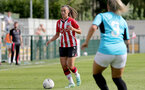 SOUTHAMPTON, ENGLAND - AUGUST 29: Laura Rafferty(L) of Southampton during Women's National League Southern Premier match between Southampton Women and Gillingham at Snows Stadium on August 29, 2021 in Southampton, England. (Photo by Isabelle Field/Southampton FC via Getty Images)