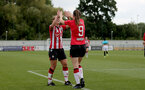 SOUTHAMPTON, ENGLAND - AUGUST 29: Shelly Provan(L) of Southampton congratulates Ella Pusey(R) of Southampton after scoring  during Women's National League Southern Premier match between Southampton Women and Gillingham at Snows Stadium on August 29, 2021 in Southampton, England. (Photo by Isabelle Field/Southampton FC via Getty Images)