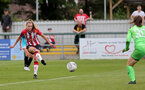 SOUTHAMPTON, ENGLAND - AUGUST 29: Alisha Ware(L) of Southampton during Women's National League Southern Premier match between Southampton Women and Gillingham at Snows Stadium on August 29, 2021 in Southampton, England. (Photo by Isabelle Field/Southampton FC via Getty Images)