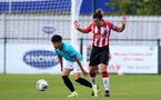 SOUTHAMPTON, ENGLAND - AUGUST 29: Shannon Sievwright(R) of Southampton during Women's National League Southern Premier match between Southampton Women and Gillingham at Snows Stadium on August 29, 2021 in Southampton, England. (Photo by Isabelle Field/Southampton FC via Getty Images)
