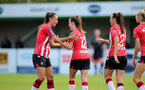 SOUTHAMPTON, ENGLAND - AUGUST 29: Laura Rafferty(L) of Southampton congratulates Sophia Pharoah of Southampton on scoring during Women's National League Southern Premier match between Southampton Women and Gillingham at Snows Stadium on August 29, 2021 in Southampton, England. (Photo by Isabelle Field/Southampton FC via Getty Images)