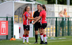 SOUTHAMPTON, ENGLAND - AUGUST 29: Katie Rood(L) comes on for Ella Pusey(R) for her debut during Women's National League Southern Premier match between Southampton Women and Gillingham at Snows Stadium on August 29, 2021 in Southampton, England. (Photo by Isabelle Field/Southampton FC via Getty Images)