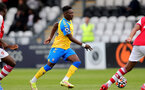 BOREHAMWOOD, ENGLAND - SEPTEMBER 02: Kazeem Olaigbe of Southampton during the Premier League Cup match between Arsenal and Southampton B Team at Meadow Park on September 02, 2021 in Borehamwood, England. (Photo by Isabelle Field/Southampton FC )