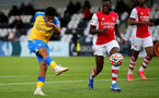 BOREHAMWOOD, ENGLAND - SEPTEMBER 02: Caleb Watts(L) of Southampton during the Premier League Cup match between Arsenal and Southampton B Team at Meadow Park on September 02, 2021 in Borehamwood, England. (Photo by Isabelle Field/Southampton FC )