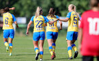 MIDDLESEX, ENGLAND - SEPTEMBER 05: Ciara Watling(22) of Southampton celebrates scoring with Rosie Parnell(5) of Southampton  during the Women's National League Southern Premier match between Hounslow and Southampton Women at Rectory Meadow on September 05, 2021 in Middlesex, England. (Photo by Isabelle Field/Southampton FC via Getty Images)