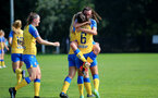 MIDDLESEX, ENGLAND - SEPTEMBER 05: Laura Rafferty(L) of Southampton congratulates Leeta Rutherford(R) of Southampton after scoring during the Women's National League Southern Premier match between Hounslow and Southampton Women at Rectory Meadow on September 05, 2021 in Middlesex, England. (Photo by Isabelle Field/Southampton FC via Getty Images)
