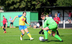 MIDDLESEX, ENGLAND - SEPTEMBER 05: Georgie Freeland (L) of Southampton during the Women's National League Southern Premier match between Hounslow and Southampton Women at Rectory Meadow on September 05, 2021 in Middlesex, England. (Photo by Isabelle Field/Southampton FC via Getty Images)