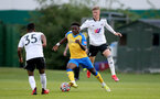 SURREY, ENGLAND - SEPTEMBER 10: Kazeem Olaigbe(center) of Southampton during Premier League 2, Division 2 match between Fulham and Southampton B Team at Fulham FC Training Ground on September 10, 2021 in Surrey, England. (Photo by Isabelle Field/Southampton FC via Getty Images)