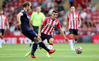 SOUTHAMPTON, ENGLAND - SEPTEMBER 11: Mohamed Elyounoussi(R) of Southampton during the Premier League match between Southampton  and  West Ham United at St Mary's Stadium on September 11, 2021 in Southampton, England. (Photo by Isabelle Field/Southampton FC via Getty Images)