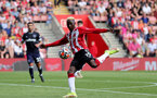 SOUTHAMPTON, ENGLAND - SEPTEMBER 11: Moussa Djenepo of Southampton during the Premier League match between Southampton  and  West Ham United at St Mary's Stadium on September 11, 2021 in Southampton, England. (Photo by Isabelle Field/Southampton FC via Getty Images)