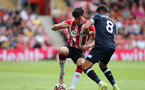 SOUTHAMPTON, ENGLAND - SEPTEMBER 11: Tino Livramento during the Premier League match between Southampton and West Ham United at St Mary's Stadium on September 11, 2021, in Southampton, England. (Photo by Chris Moorhouse/Southampton FC via Getty Images)