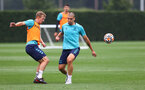 SOUTHAMPTON, ENGLAND - SEPTEMBER 14: James Ward-Prowse(L) and Oriol Romeu during a Southampton FC training session at the Staplewood Campus on September 14, 2021 in Southampton, England. (Photo by Matt Watson/Southampton FC via Getty Images)