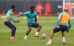 SOUTHAMPTON, ENGLAND - SEPTEMBER 14: Ibrahima Diallo(L) and Thierry Small during a Southampton FC training session at the Staplewood Campus on September 14, 2021 in Southampton, England. (Photo by Matt Watson/Southampton FC via Getty Images)