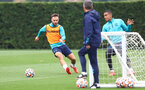 SOUTHAMPTON, ENGLAND - SEPTEMBER 14: Adam Armstrong(L) and Yan Valery during a Southampton FC training session at the Staplewood Campus on September 14, 2021 in Southampton, England. (Photo by Matt Watson/Southampton FC via Getty Images)