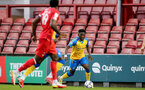LONDON, ENGLAND - SEPTEMBER 14: Kazeem Olaigbe(L) of Southampton during the Papa John's Trophy match between Leyton Orient and Southampton B Team at Breyer Group Stadium on September 14, 2021 in London, England. (Photo by Isabelle Field/Southampton FC via Getty Images)