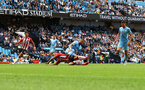 MANCHESTER, ENGLAND - SEPTEMBER 18: Adam Armstrong(L) of Southampton is brought down by Kyle Walker of Manchester City but VAR rules no penalty during the Premier League match between Manchester City and Southampton at Etihad Stadium on September 18, 2021 in Manchester, England. (Photo by Matt Watson/Southampton FC via Getty Images)
