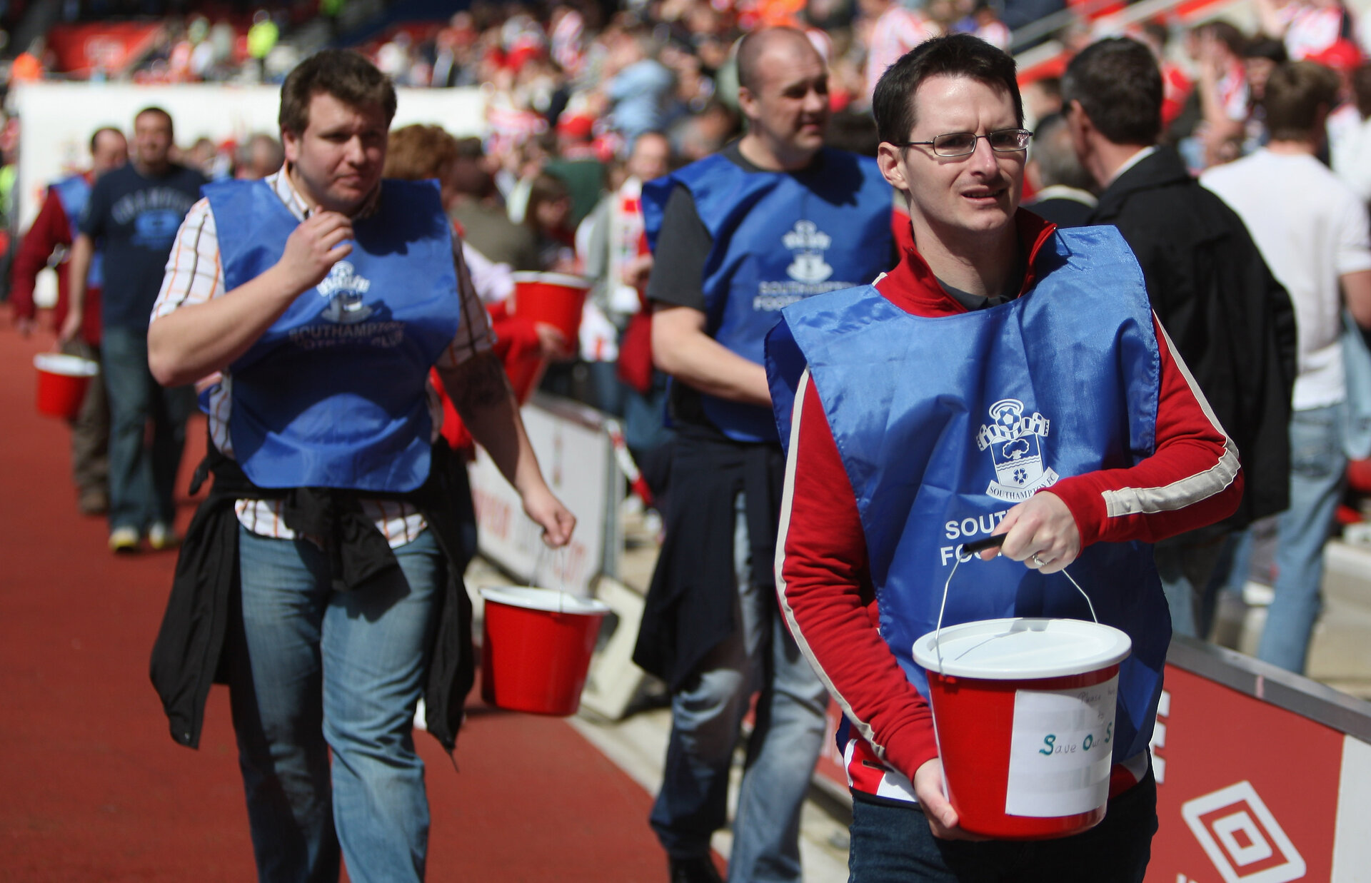 SOUTHAMPTON, ENGLAND - APRIL 25:  Southampton appeal for donations to the club during the Coca Cola Championship match between Southampton and Burnley at St Mary's Stadium on April 25, 2009 in Southampton, England.  (Photo by Bryn Lennon/Getty Images)