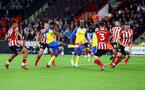 SHEFFIELD, ENGLAND - SEPTEMBER 21: Nathan Tella of Southampton shoots at goal during the Carabao Cup Third Round match between Sheffield United and Southampton at Bramall Lane on September 21, 2021 in Sheffield, England. (Photo by Matt Watson/Southampton FC via Getty Images)