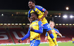 SHEFFIELD, ENGLAND - SEPTEMBER 21: Mohammed Salisu(L) of Southampton celebrates with Nathan Tella and James Ward-Prowse(R) during the Carabao Cup Third Round match between Sheffield United and Southampton at Bramall Lane on September 21, 2021 in Sheffield, England. (Photo by Matt Watson/Southampton FC via Getty Images)